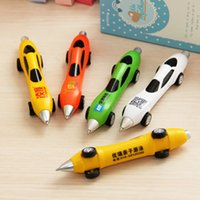 ballpoint pens print - Novelty Children Stationery Cute Plastic Car Shape Pens toy Creative Ballpoint Pen School Stationery pen Ball Point Pens support print logo