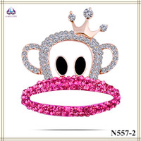 american girl invitations - Elegant Wedding Invitations Fashion Jewellery Monkey Shape Brooch With Pink Zircon And Crown Hot For Girls