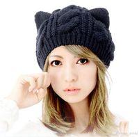 Wholesale New Women Devil horns Cat Ear Crochet Braided Knit Ski Beanie Wool Hat Cap