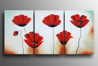 Cheap hand-paintedred rose flower 3 panel wall art Decoration Modern Abstract Oil Painting on canvas 12x16inchx3 Frame