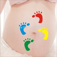 baby foot design - New Design Newborn Baby Handmade Little feet belly temporary tattoo stickers One hundred days Photo Maternity Photography Props