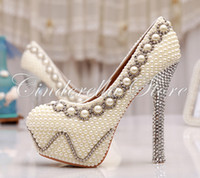 Wholesale Inches White Pearl Wedding Shoes Rhinestone Bridal High Heels Sexy Prom Pumps Ivory Bridesmaid Shoes Large Size
