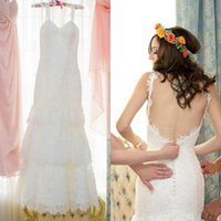 A-Line country wedding dresses - 2015 Vintage Wedding Dresses A Line Spaghetti Straps Lace Tiered Floor Length Backless Country Bridal Gowns