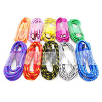 Wholesale Fabric Nylon Braided Micro USB Charging Cord Data Sync Cable for Samsung S3 S4