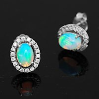 australian fire opal earrings - arrings Stud Earrings Brand New Hot Multi Color Flash White Australian Genuine Fire Opal Oval Woman Stud Earrings Solid Sterling