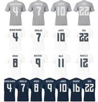 Puede mezclar orden superior la calidad de Tailandia 2015 16 Temporada Real Madrid Blanco Gris camisetas de fútbol Negro Ronaldo Isco Benzema Bale J
