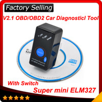 Wholesale 2016 Super Mini ELM327 Bluetooth ELM327 OBD2 OBD ii CAN BUS Diagnostic Car Scanner Tool Switch Works on Android Symbian Windows
