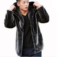 Wholesale Fall Mens Faux Fur Coat Hood Motorcycle Hooded Leather Jacket Men Winter Mink Coats Casual Outerwear Skin Jackets Purple Black Coffee