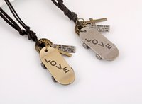 american scooter - Mens Leather necklaces Fashion Retro Handmade Scooter Engrave LOVE letters Long section Alloy necklaces pendants Tide Accessories Best Gift