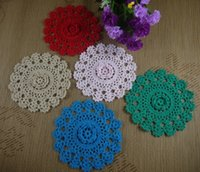 lace doilies - 50PCS Hand Hook Flower Coaster CM Lace Flowers Handmade Doily Crocheted Cup Mat Round Placemats
