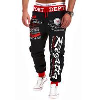 Wholesale Cargos Discount - Wholesale-2015 Discount Mens Pants Elastic Waist Printed Letters Loose Cargo Casual Harem Baggy Hip Hop Dance Sport Pant Trousers Slacks