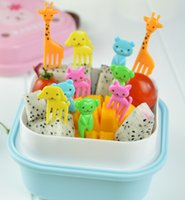 bento children - Cute Animals Food Picks and Forks bright color Bento Food Pick Fork animals fruit forks for children food picks in a pack
