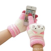 Wholesale The new touch screen student cartoon knitted gloves cute female rabbit plush winter touch gloves touch gloves