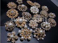gros broches de mariée en vrac achat en gros de-50X Bulk Gold Crystal Pearl Broche Button Bricolage Bridal Wedding Bouquet Wholesale Lot