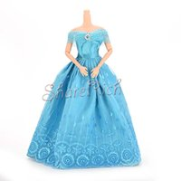 Wholesale 1 new Fashion Handmade Clothes Dresses For Barbies Doll Princess Blue Kids toys fast Delivery