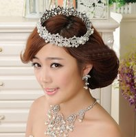 Wholesale Fashion Round Pearl Crystal Rhinestones Tiaras Crown Hair Accessories For Wedding Quinceanera Tiaras And Crowns Pageant Hair Jewelry