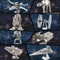 Wholesale 4LOT HHA760 DIY D Models Star wars ATAT Tie Fighter Kits Styles Metallic Nano Puzzle no glue required For adult Chirstmas gift