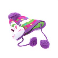 Wholesale Cheap Price New Cute Bunny Cap Winter Wool Ear Flap Hat BEANIE For Baby Kid Colors F0062