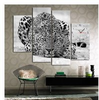 b w combination - B W Leopard In Wait Modern Wall Clock On Quality Canvas Set Of panel painting no framed