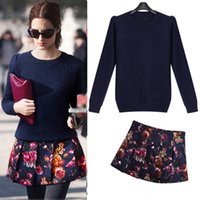 Wholesale Hight Quality Fashion Women s Sets Knitted Sweater And Retro Floral Print Skirt Autumn Two Piece G EP0259147