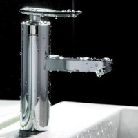Wholesale 1pcs Bathroom Basin Faucet Single Handle Brushed Chrome Waterfall Sink Mixer Tap New