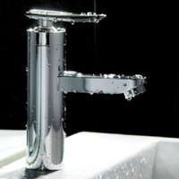 bathroom sinks contemporary - Bathroom Shower Sets Bathroom Basin Faucet Single Handle Brushed Chrome Waterfall Sink Mixer Tap New