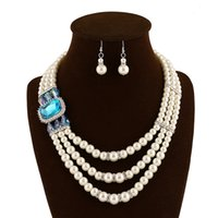 Wholesale Supply of export quality European and American fashion multi pearl earrings exaggerated crystal necklace Jewelry Sets