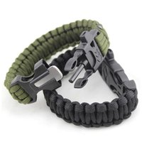 Wholesale Survival Bracelets Paracord Parachute Camping Bracelet Stainless Steel U Clasp Escape Life saving Bracelet Hand Made wristband