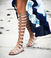 Women sandal fashion lady shoes - Brand Fashion Knee High Gladiator Summer Sandals Women Motorcycle Boots Genuine Leather Ladies Flats Lace Up Party Shoes Woman