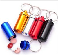 Wholesale 5pcs Aluminum Alloy Outdoor First Aid Small Gallipot Cartridge Keychain Round Multicolor A038