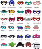 Wholesale 2015 Children Halloween Cosplay Mask Party Masquerade Felt Decoration Mask Superhero Cape Performance Mask Party Pack
