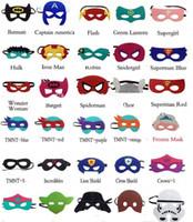 Wholesale 2015 Children Halloween Cosplay Mask Party Masquerade Felt Decoration Mask Superhero Cape Performance Mask Party Pack