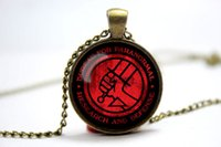 american research - 10pcs hellboy bureau paranormal research defense inspired glass cabochon dome pendant Necklace