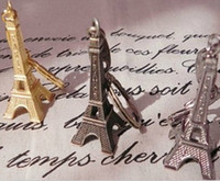 alloy advertising - 2015 cm Romantic Wedding Favors Alloy Retro Eiffel Tower Keychains Advertising Gift Key Ring Supplies Gold Silver Copper