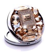 achat en gros de cadre de miroir de fabrication-10Pcs / Lot parfum de luxe bouteille bijou strass miroir en acier inoxydable Cadre double face gros ENLARG Mirror Compact