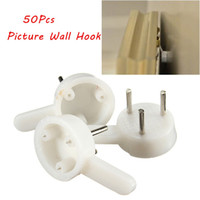 Wholesale 50pcs Picture Frame Mirror Mount Hard Wall Small Pins Hanging Hook Wedding Photo Solid Hanger Medium Retail