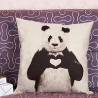 Wholesale Cushion Covers Love Panda Print Linen Cotton Pattern Kung Fu Panda Pillow Case Home shop Decor cm gift drop shipping