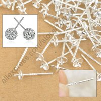 ear pin - TOP Free Fast Shipping Sterling Silver Ear Pin Pairs Stud Earrings Findings Supplies Back Lock Post Pad