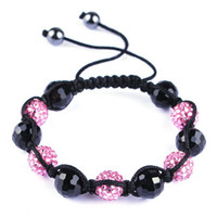Wholesale Fashion Ethnic Vintage Jewelry Disco crystal disco ball bracelet handmade popular Bracelet charm macrame Weave rope resizable