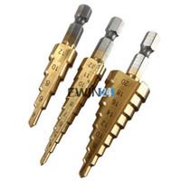 Wholesale 3 set HSS Step Drill Bits Titanium Step Drill Hole Cutter mm mm mm Power Drills Tools