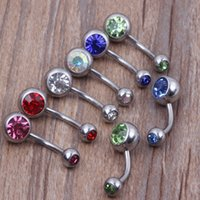 Navel & Bell Button Rings bar bell - 316L Surgical Steel Crystal Rhinestone Belly Button Navel Bar Ring Piercing colors