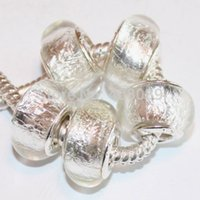 Cheap 50Pcs 925 sterling White Foil Gorgeous Murano Glass Beads Charms fit European Jewelry Charm Bracelets & Necklace