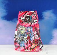 cute drawstring bag - 12pcs Child Frozen School Bag Non woven Drawstring Monster High School Backpack Cute Sofia Kids Travel Bags Birthday Party Bag Gift