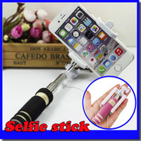 Wholesale Hot Mini Wired Selfie Sticks Portable Light Foam Monopod Fold Self portrait Stick with Cable for Sansung S6 Edge iphone S