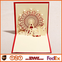 Wholesale Greetings Cards DIY Sky Wheel Creative Handmade D Pop UP Cards Happy Birthday Greeting Gift Cards HQ1248