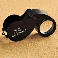 Plegable 40X 25mm gafas lupa de la joyería del reloj de la lámpara compacta Lupa llevó la luz Lupa Microscopio Lupas De Dumento lupa H14798