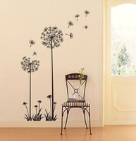 Wholesale LOVELY DANDELION SPORESeed Stem Instant WALL DECAL DECOR MURAL STICKER BLACK ZLI