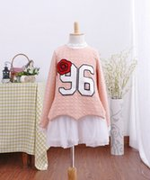 Cheap Big kids fake two piece dress cotton long sleeve with tulle Peplum youth clothing flower and number pattern big girls dresses 120-160 ab673