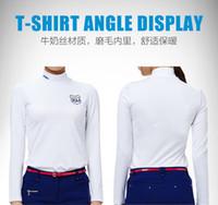 Wholesale Fashion Slim waist brushed warm inner lining antistatic GOLF Ms long sleeved shirt