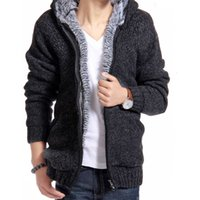 Wholesale Super Warm Cotton Winter Fleece Mens Cardigan Jumper Knitted Sportswear Knitwear Clothes Zipper Thermal Thick Hooded Sweater Men